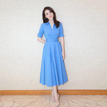New and pure color temperament waist show thin F0322 posed chiffon dress shirt dress(China)