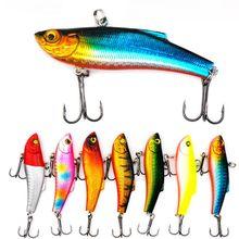 1 pçs 7 cm / 18g inverno mar duro pesca isca vib 3d olhos com chumbo dentro do giro mergulho jig asa wobbler manivela
