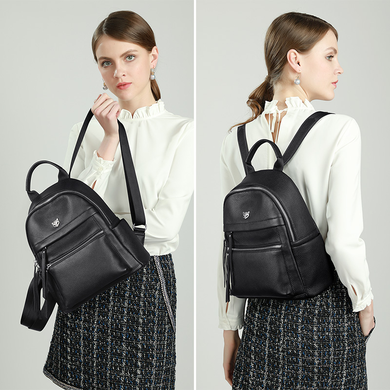 Foxer Laky Women Leather Backpack Black