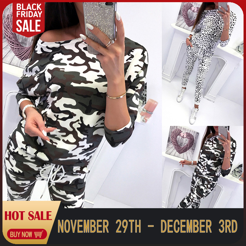2PCS Womens Camouflage Tracksuits Set Lounge Wear Women's Sports Suit Plus Size Ladies Camouflage Leopard Print LooseLongSlee