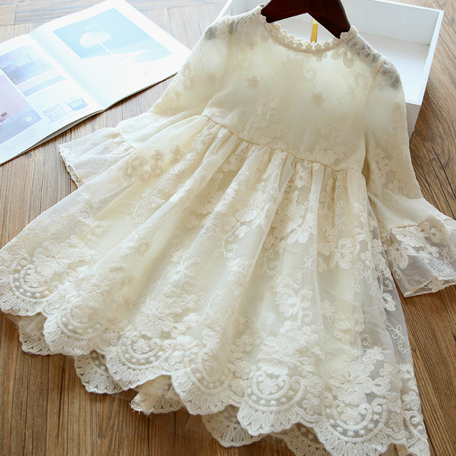 Long Sleeve Girls Dress 2020 Winter Lace Flower Dress for Girls Floral Ball Gown Baby Girl Clothes Kids Dresses for Girls Wear 4