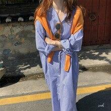 Women Summer Long Striped Shirt Dress Straight Vestidos Blue