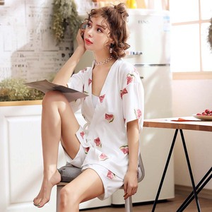 Image 3 - Simple Style Women Pajamas Set Japanese Kimono Style Summer New Sleepwear 2Pcs Set Comfort Simple Ladies Homewear Casual Wear