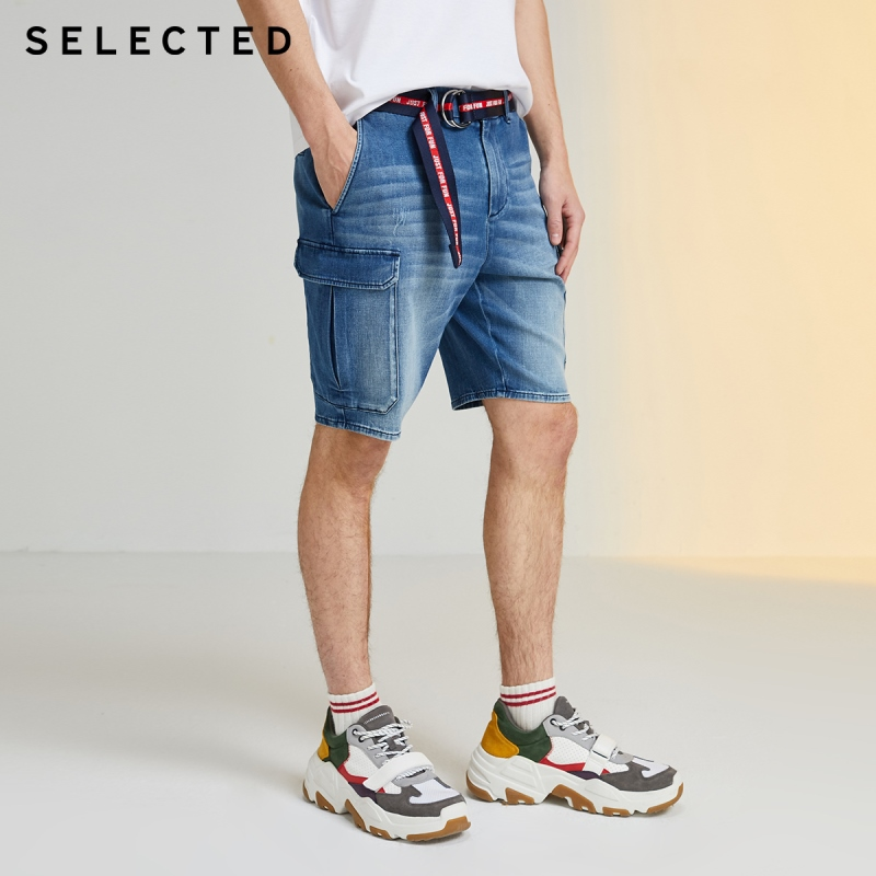 SELECTED Men's Elasticized Waist Casual Big Pockets Faded Denim Cargo Shorts R|4202S3509