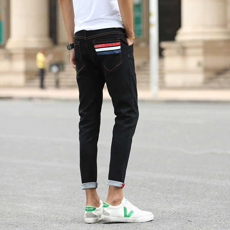 Capri Jeans Men's Spring And Summer Korean-style High-waisted Elasticity Slim Fit Youth Trend Men Skinny 9 Points Pants