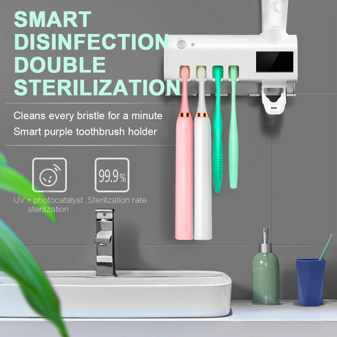 UV Light Toothbrush Sterilizer Toothbrush Holder Automatic Toothpaste Squeezers Dispenser Home Bathroom Use