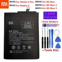 Bateria original bn40 bn42 bm49 bm50 bm51 para xiaomi redmi 4 pro prime 3g ram 32g rom edição redrice 4 redmi4 mi max max2 max3