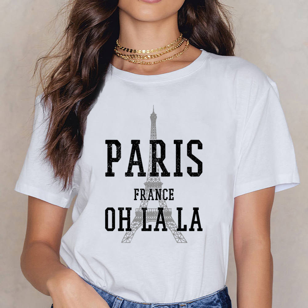 Tops T Shirt Women Paris France Eiffel Tower Souvenir  Vogue Vintage Print Female Shirt