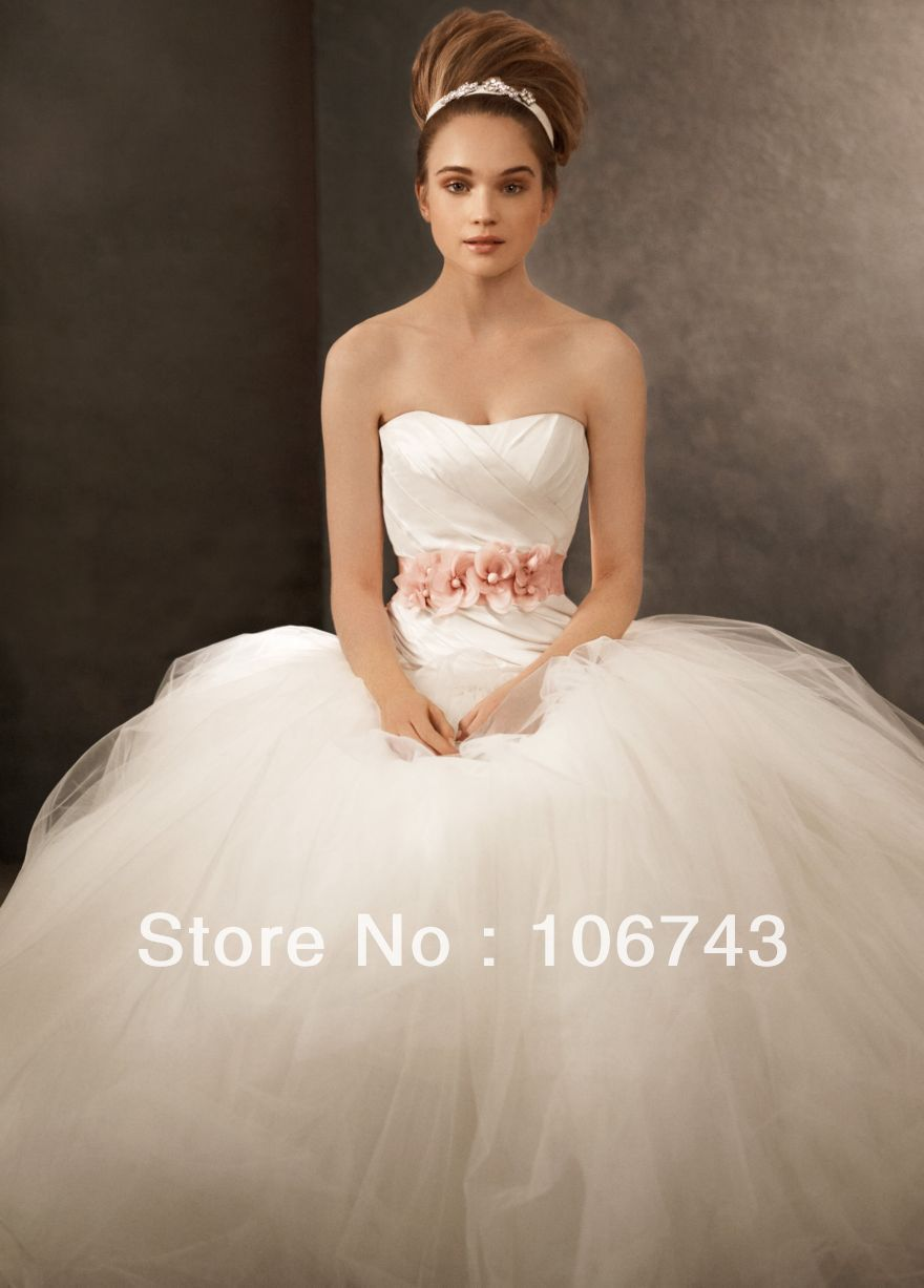 Dress Free Shipping 2016 Flowers Sashes Tulle Chiffon Beautiful Tulle Ball Gown Wedding Dress