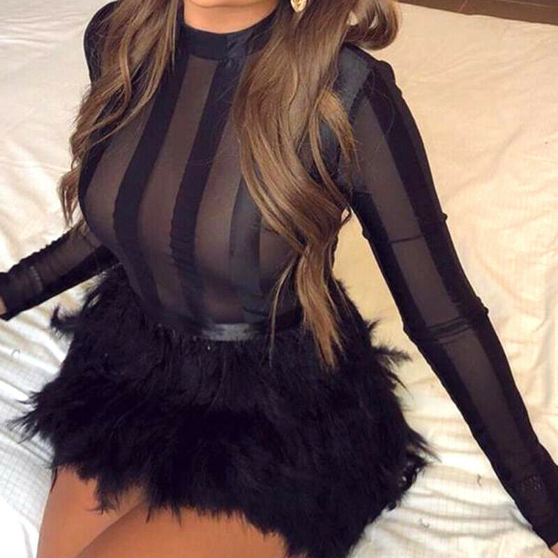 Women Sexy Bodycon Solim Striped Mesh Sheer Perspective Long Sleeve Dress Cocktail Club Party Clubwear Faux Fur Mini Dress