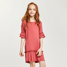 CupofSweet Ruffled Flare Cropped Sleeves Dress Shirt Girls Clothing 2019 Autumn Fashion 1/2 Casual Kids Dresses Girl