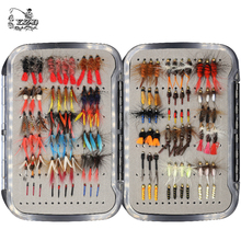 цены Free shipping 17 dozen plastic fly big box(waterproof ) vintage various type fly fishing lures