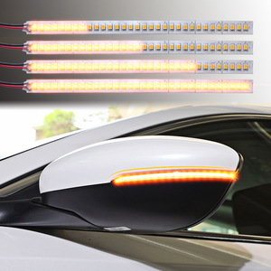 sales 1 Pair Car Rearview Mirror Indicator Lamp Streamer Strip Flowing Turn Signal Lamp Amber LED Car Light Source 28 SMD
