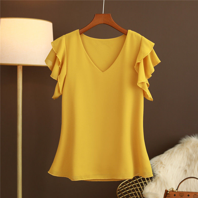 2021 New Fashion Women's blouse Tops Summer Short sleeve Chiffon shirt Solid V-neck Casual blouse Plus Size 5XL Loose Female Top 2