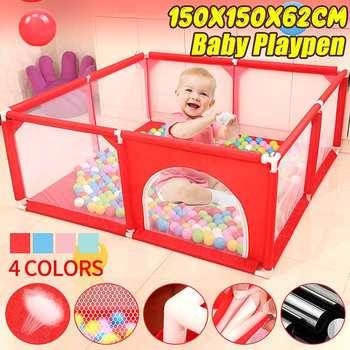 150CM Baby Playpen Fence Play Yard dla dzieci niemowlęta bariera bezpieczeństwa namiot do gry dla noworodka na basen dla dzieci dzieci kojec tanie i dobre opinie bioby 3 lat Tkaniny 150x150x62CM SKUF04292 Stałe Portable Storage Organizer Double zipper door 62cm heightened design