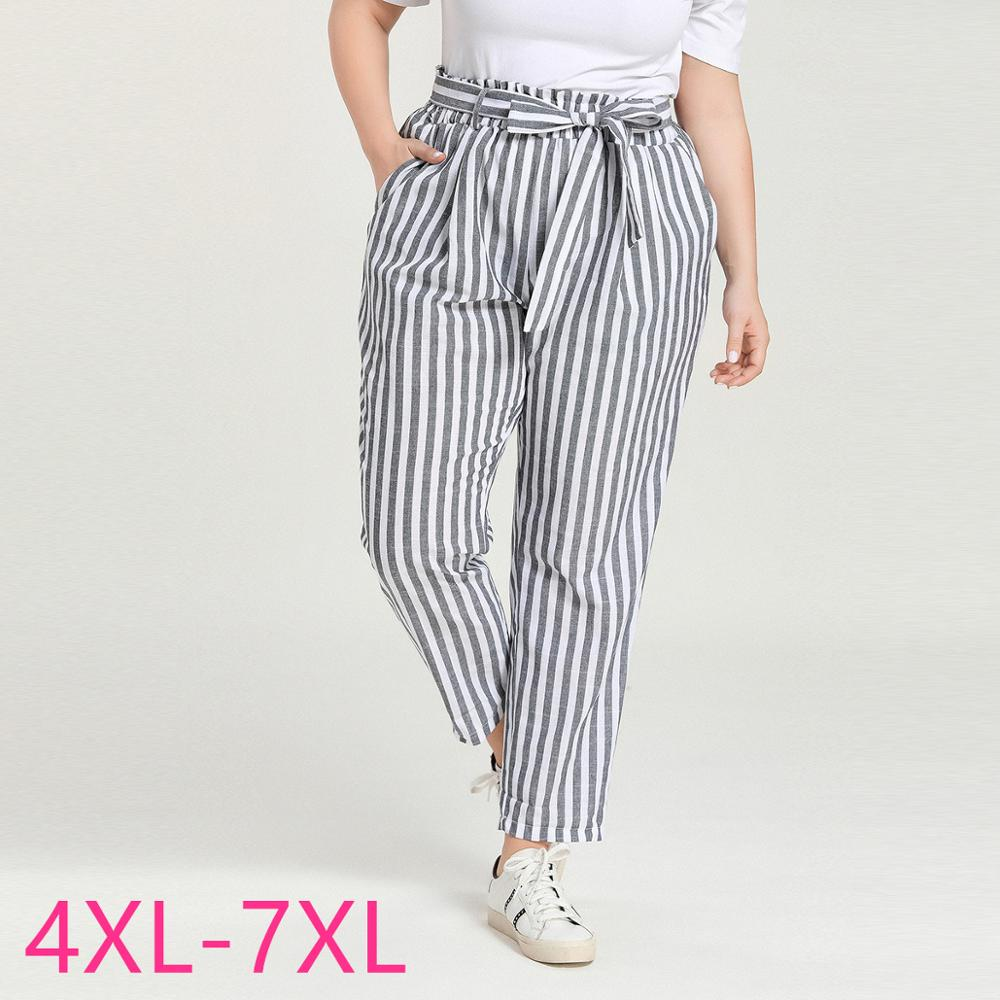 Female Spring Summer Plus Size Long Pants For Women Large Loose Casual Elastic Waist Stripe Trousers Belt Gray 4XL 5XL 6XL 7XL