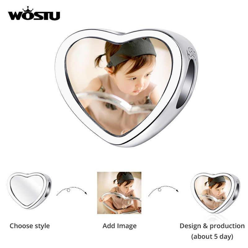 WOSTU DIY imagen corazón cuentas Plata de Ley 925 pulseras colgante collar personalizado foto regalo joyería