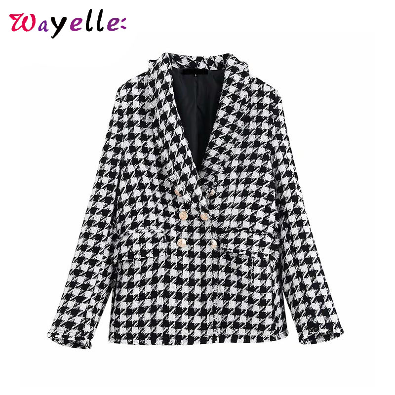 Houndstooth Blazer Coat Women 2019 winter Double Breasted Long Sleeve women jackets Vintage Trims Outerwear Plaid women blazer