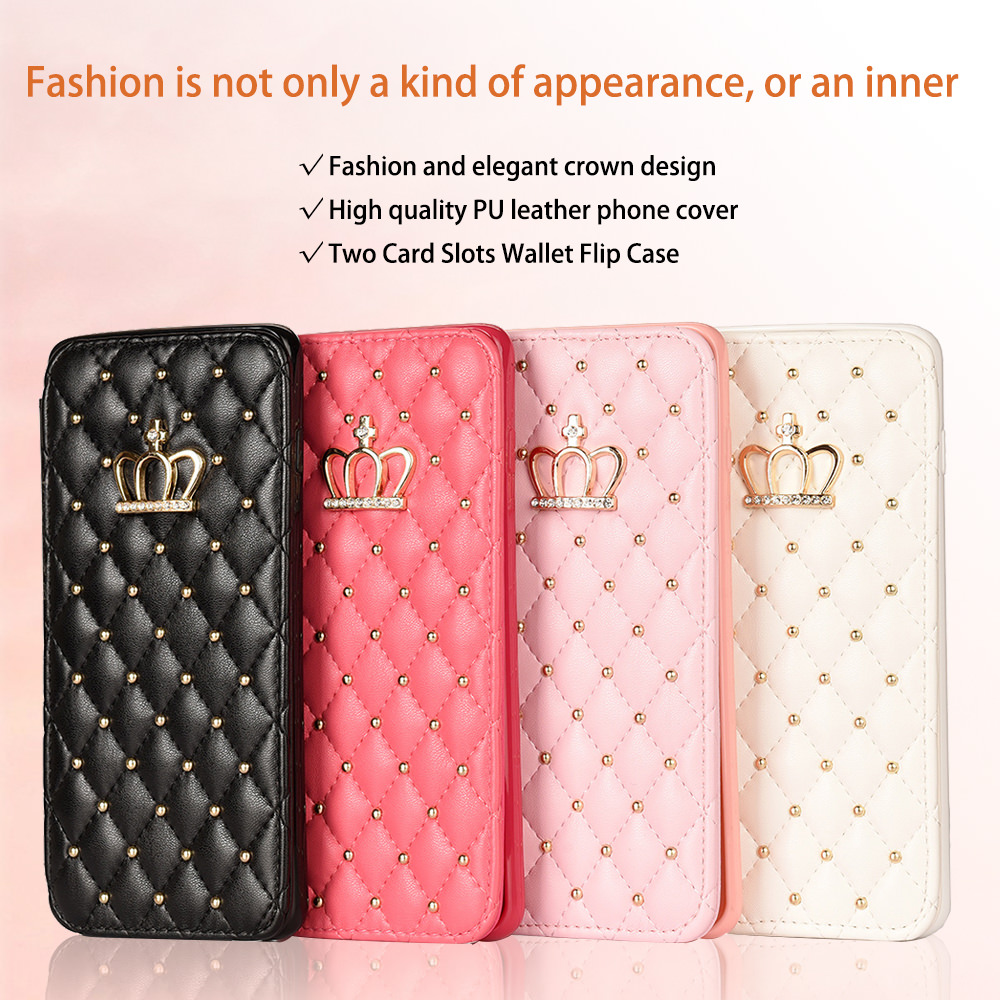 Luxury Leather Wallet Slim Flip Case for Samsung S20 Ultra S9 Plus S8 S10 S10e S7 Edge Shockproof Bling Crown Cover Card Holder