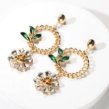 2019 Bohemia Enamel Leaf Gold Color Chain Metal Acrylic Flower Shape Statement Drop Dangle Earrings For Women Jewelry