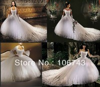 dresses free shipping 2016 rhinestone and beaded appliques New White/Ivory/Red cathedral wedding Dress princess tulle dress