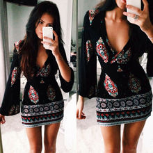 2019 Brand New Fashion Women Dresses Boho Long Sleeve Party Cocktail Casual Print Short Mini Dress