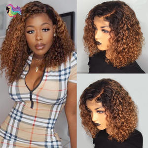Wig Lace-Wig Human-Hair-Wig Curly Bob Pre-Plucked Black Ombre Women Brazilian for Non-Remy