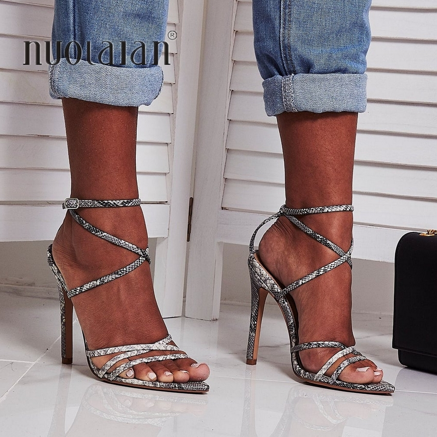 Women Sandals Super High 10.5CM Thin Heels Ankle Cross Strap Sandals Shoes Woman Ladies Pointed Toe High Heels Dress Party Shoes