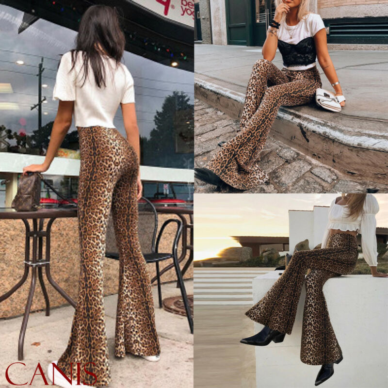 New Fashion Women Animal Leopard Print Trousers High Waist Female Flares Pants Fashion Street Wear