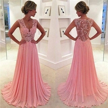 Vintage Pink A Line Chiffon Lace Evening Prom Gowns Appliques Plunging V neck Sexy Sheer Cap Sleeves Girls Party Formal Dress