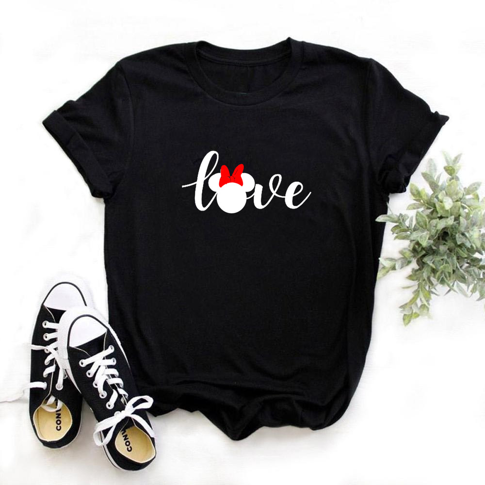 Female Funny Love Mouse Print T Shirt Women Casual Black Short Sleeve Tops Girl 90S Clothing,Drop Ship,Ready Stock