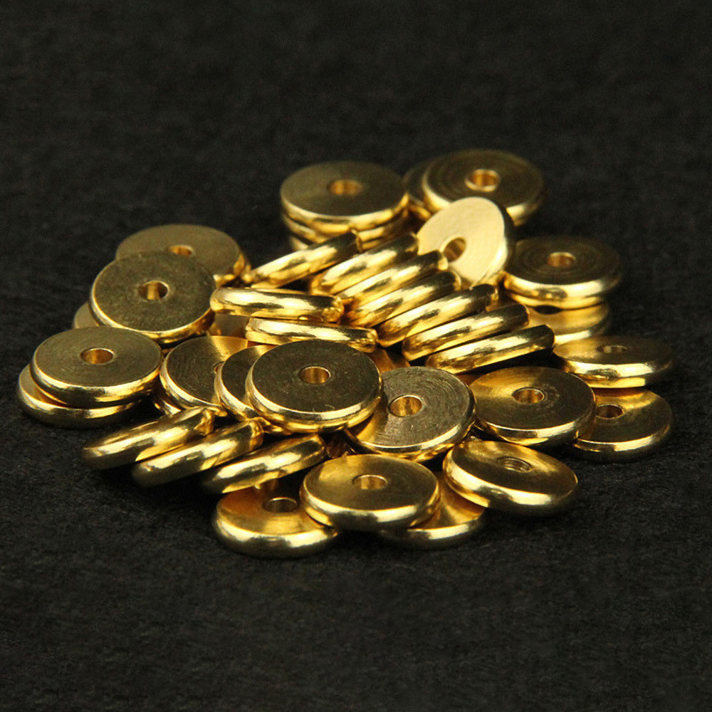 50pcs 4/5/6/7/8/10mm Gold Plating Copper Flat Round Spacer For DIY Jewelry Making Bracelet Accessories 853