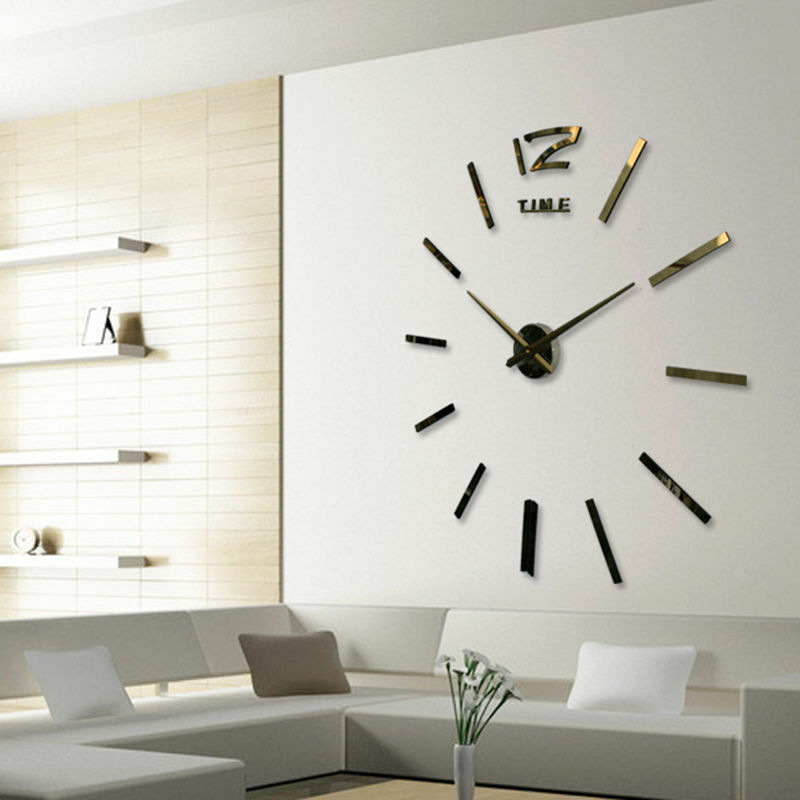 Sticker Mirror Number Wall-Clock Living-Room Home-Decor 3D Art-Design Large DIY title=