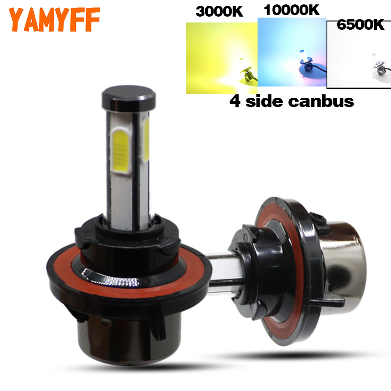 YAMYFF Mini Car Headlight <font><b>H4</b></font> H7 <font><b>LED</b></font> H15 H13 D2S Canbus Car Bulbs D3S D1S 3000K 6500K <font><b>10000K</b></font> 4 Side Headlamp 12V Auto Fog lights image