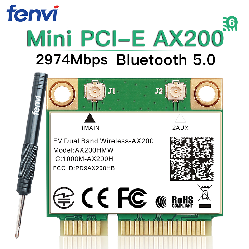 Mini PCI-E Wifi 6 Intel AX200 Half Mini PCI Express Dual Band 2974Mbps Bluetooth 5.0 Laptop Card Wlan 802.11ax Wireless AX200HMW title=