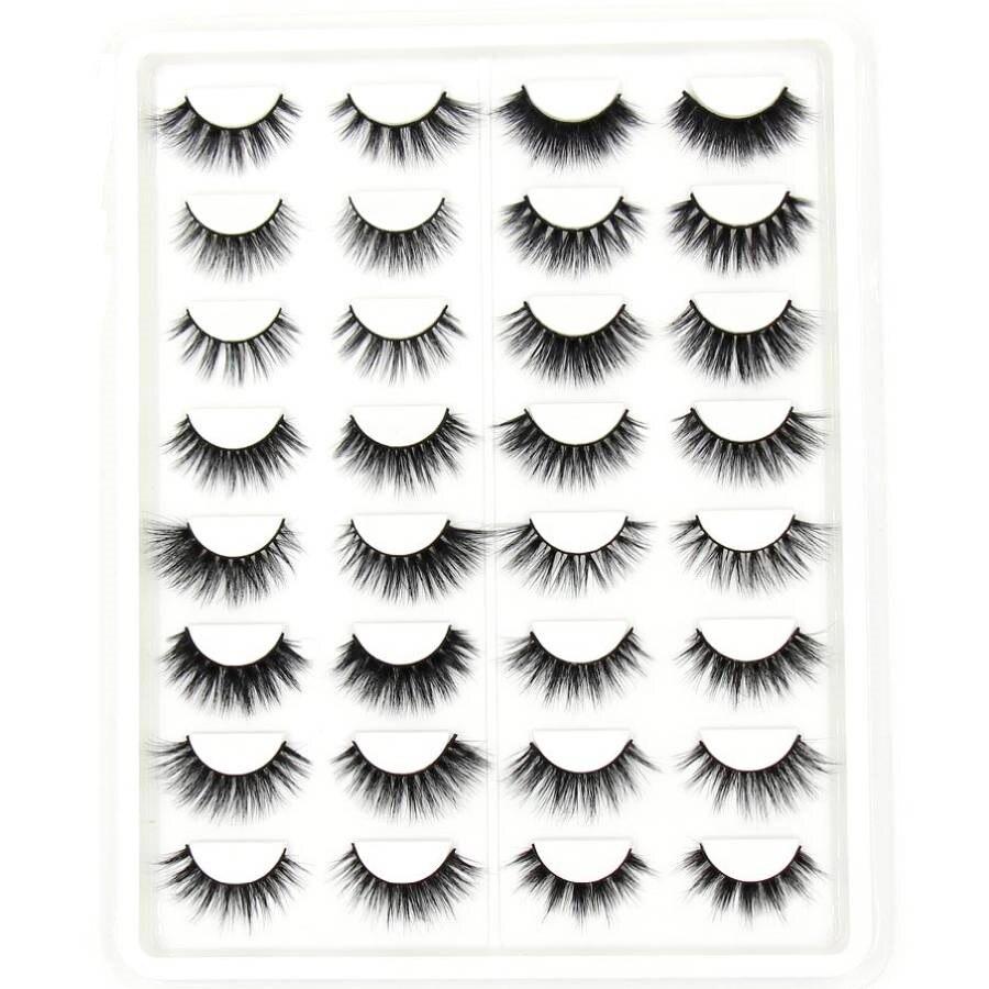 SOQOZ 16/7 Pairs False Eyelashes 3D Mink Eyelashes Handmade Fluffy Eye Lashes Real Mink Lashes Makeup Thick Fake Eyelashes