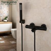 Torarvino Bathroom Matte Black Thermostatic Faucet Shower Handle Bath Shower Combo Set Wall Mounted Bathroom Bathtub Mixer Tap