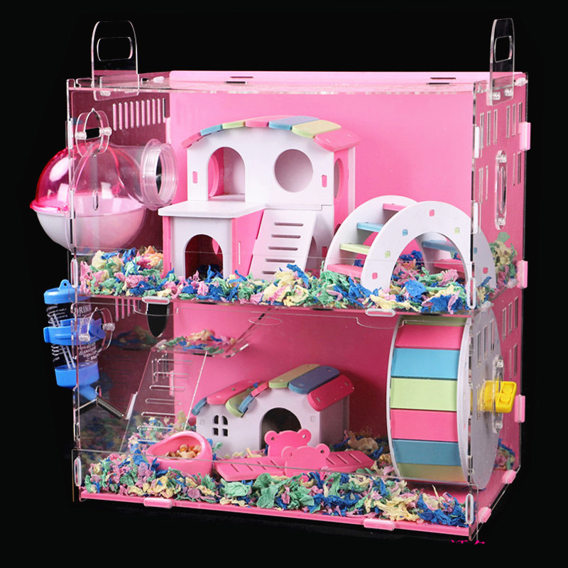 Acrylic Hamster Cage Transparent Oversized Villa Guinea Pig Basic Cage Toy Supplies Package Small Pet Nest