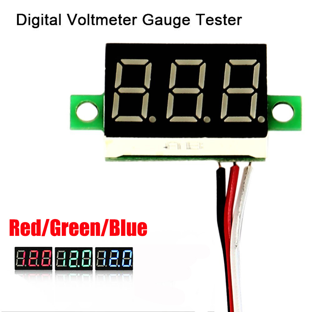 0 36 Inch Mini Digital Display Voltmeter Ammeter 3 Wires Dc 0 30v Dc Voltage Meter Detector Red Green Blue Voltage Meters Aliexpress