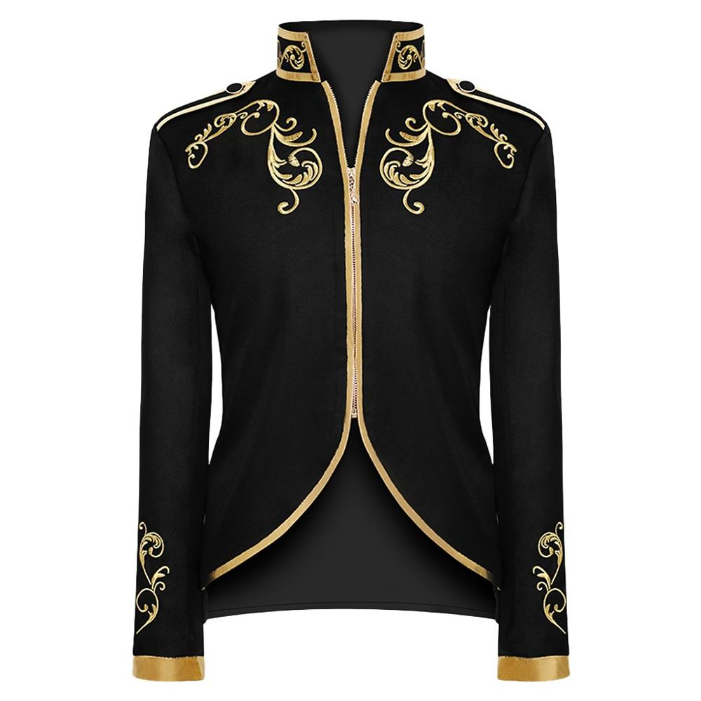 Men Winter Warm Vintage Long Sleeve Embroidery Tailcoat Jacket Suit Outwear Coat Men's Fashion Palace Steampunk Dress Jacket