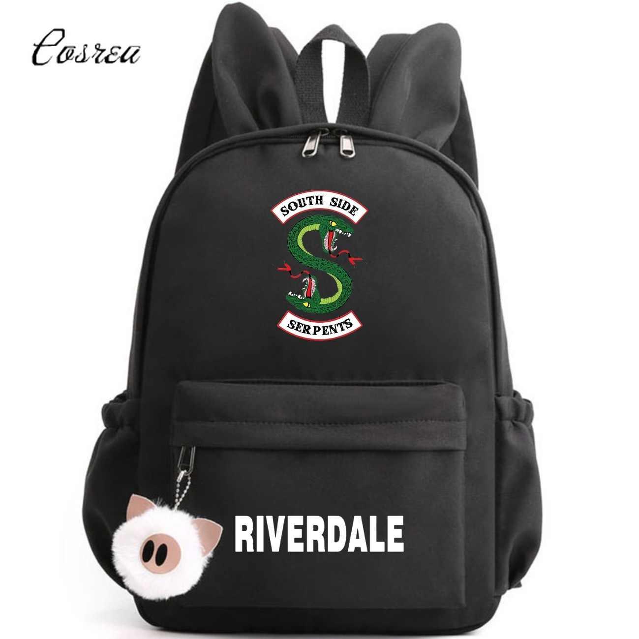 Od strony południowej węże Riverdale węże wąż Logo plecak Student szkoła torba ramię podróży torba podróżna plecak torby na laptop