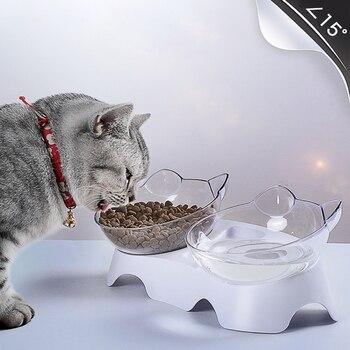 애완 동물 고양이 그릇 듀얼 사용 투명 그릇 보호 자궁 경부 척추 틸트 입 마시는 물 식품 저장 그릇 개 고양이에 대 한