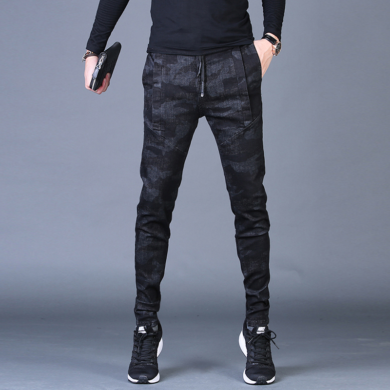 Free shipping new fashion men's male casual Original camouflage jeans men plus velvet autumn stitching pants Slim Korean C3129 71