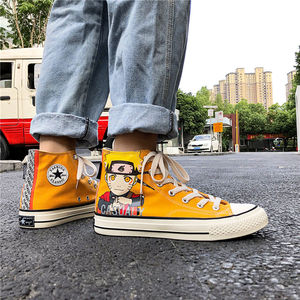 High Top Japan Cartoon Men Fashion Canvas Casual Shoes Casual Sneakers Breathable Flat Driving Vulcanize Lovers Walking Shoes Skateboarding Sports & Entertainment -
