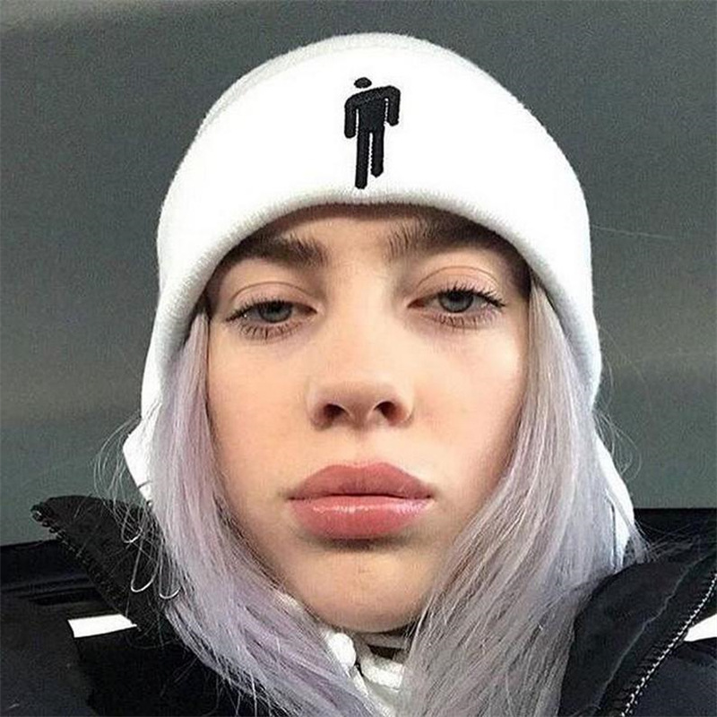 Billie Eilish   Beanie   Hat Women/Men Embroidery Knitted Warm Winter Warm Hats For Women Men Solid Hip-hop Cap
