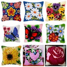 Latch Hook Flower Pansy Daisy Cushion Cover Printed Color Canvas Crocheting Arts & Crafts Pillow Case Sofa Pillows Home Decor(China)