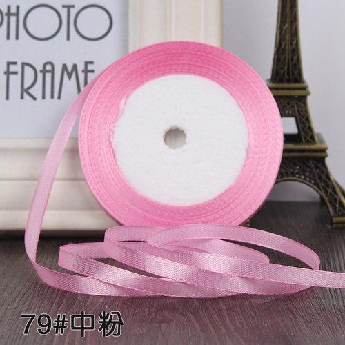 25 ярдов/рулон 6 мм 10 мм 15 мм 20 мм 25 мм 40 мм 50 мм шелковые атласные ленты для рукоделия бант ручной работы подарочная упаковка вечерние свадебные декоративные - Цвет: 79 Medium pink