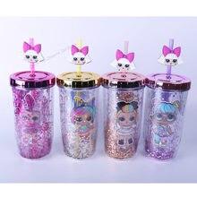 300-400ml lol surpresa boneca caneca de lantejoulas cor sólida duplo plástico copo de água dos desenhos animados menina padrão chaleira garrafa de água bonito