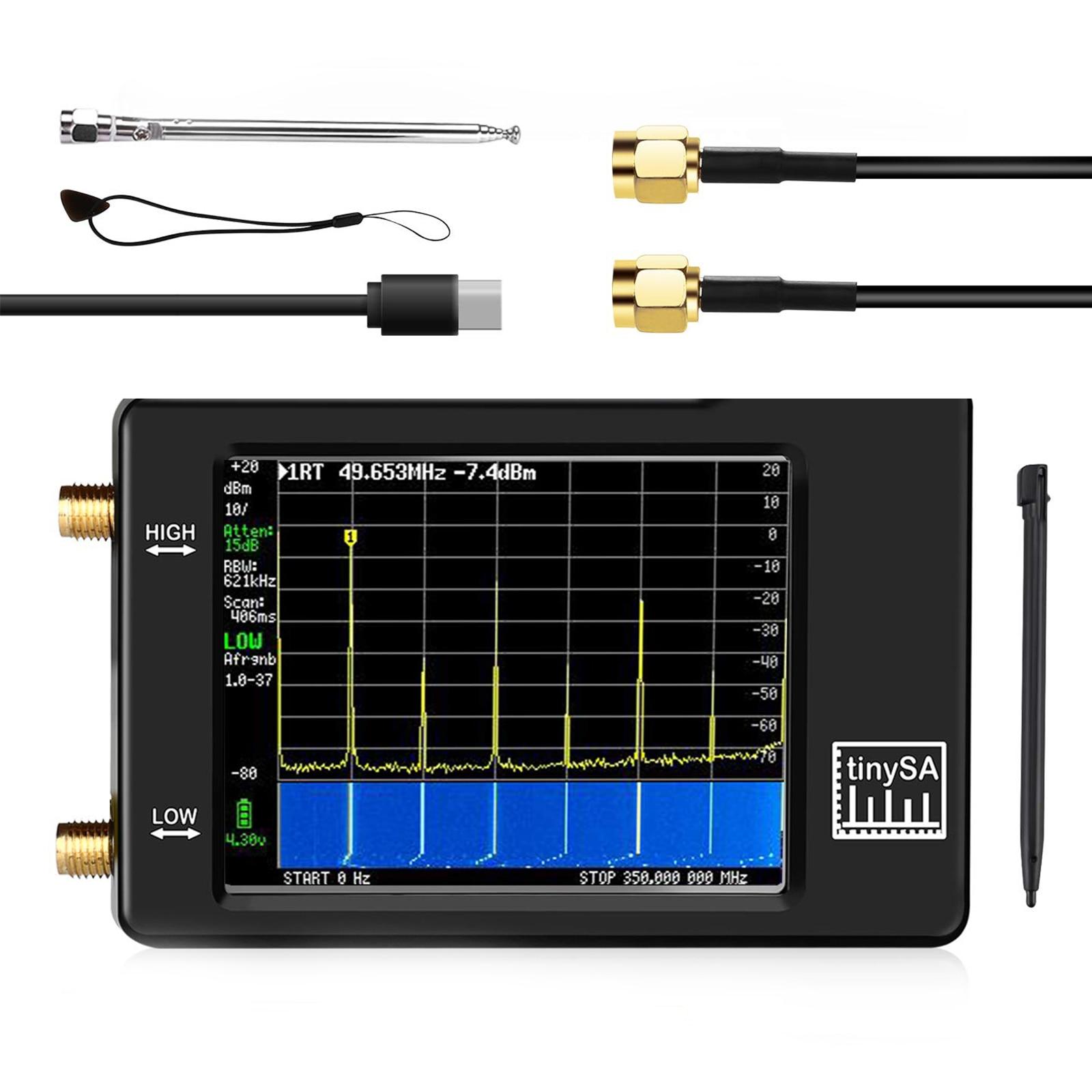 Портативный анализатор спектра TinySA, ручной миниатюрный анализатор частоты от 100 кГц до 960 МГц, вход MF/HF/VHF UHF, генератор сигналов