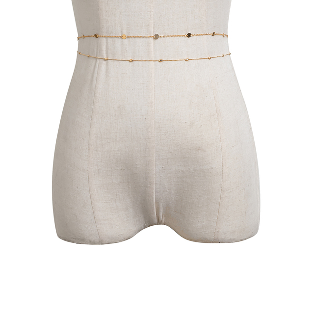 Sexy Vintage Aesthetic Belly Chain Thin Beads Link Body Chain Waist Chain Belt Y2K Streetwear Summer Women Fashion Body Jewelry 3
